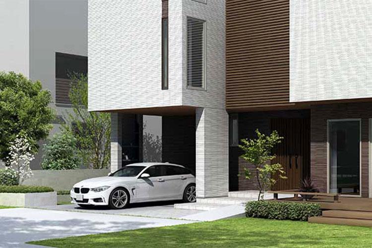 1階の庭と駐車スペース